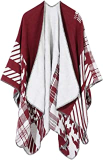 QitunC Ladies Winter Poncho Oversized Warm Blanket Cape Printed Reversible Shawl Wrap Open Front Cardigans for Women
