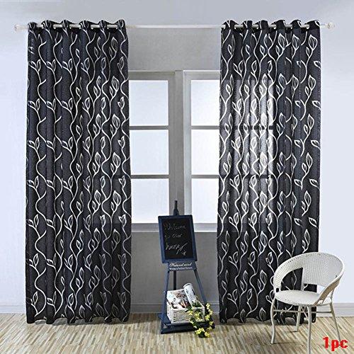 Tookie - Cortinas decorativas para el hogar, cortinas tul de gasa para dormitorio, sala de estar, ventana, puerta, decoración, círculos, flores cortadas con burbujas, negro, 100*200cm