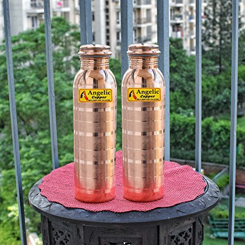 Angelic Copper Designer Bottles Set, 1 Litre, Set of 2, Brown
