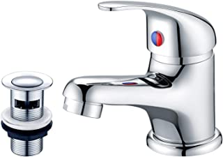 SDHouse Bathroom Sink Taps with Slotted Pop-up Waste,Chrome Mono Basin Taps Single Lever