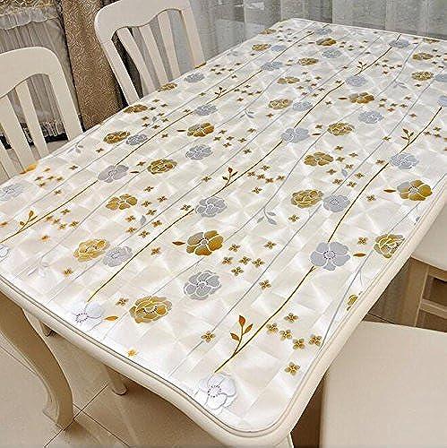 QIN PING GUO QPG Weißhes Glas PVC Wasserdichte Tischdecke Tischdecke mattiert Weißhe Glas Kunststoff Tischmatten Nicht waschen Tee Tisch Mats Tisch Kristallplatte (Farbe   C, Größe   80  150CM)