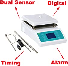 SH-II-4C Digital Magnetic Stirrer Ceramic Hot Plate with Timing and Alarm Function,Capacity 5000ml,Speed 200~2000rpm,Dual Sensor Constant Temperature Control Large Screen Display