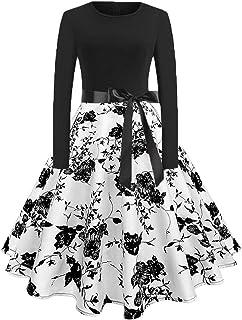 BaZhaHei Vestidos de Mujer Falda Vestido Largo con Cuello Redondo y Estampado de Noche Manga Larga Cuello Redondo para Mujer Fiesta Vintage Vestido de Manga Larga con Musical y Cuello