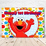 Red Elmo Party Supplies 1st Birthday Backdrop 7x5 Colorful Paint Dots Happy 1st Birthday Elmo Background for Boy and Girl Vinyl Sesame Street Elmo Theme Background for Party Supplies
