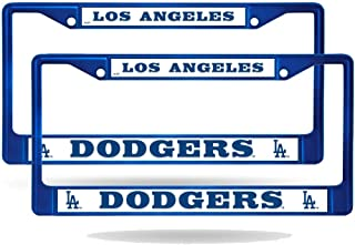Rico Los Angeles Dodgers MLB Blue (Set of 2) Painted Chrome Metal License Plate Frames