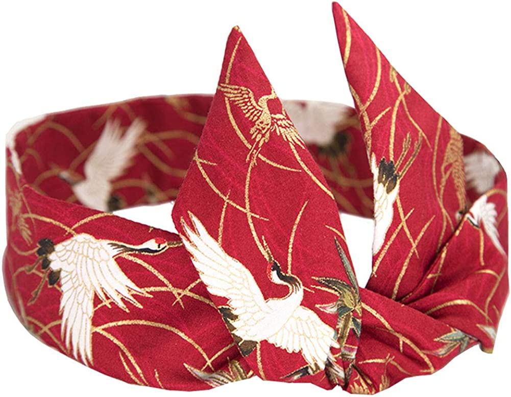 Adjustable Bow Japanese Styles Cross Hair Band Headband For Women,Red,Crane #1