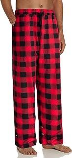 ALIMENS & GENTLE Men's Heavyweight Flannel Plaid Pajama Pants Adjustable Waistband Lounge Sleep Pants -Color: Adjustable-R...