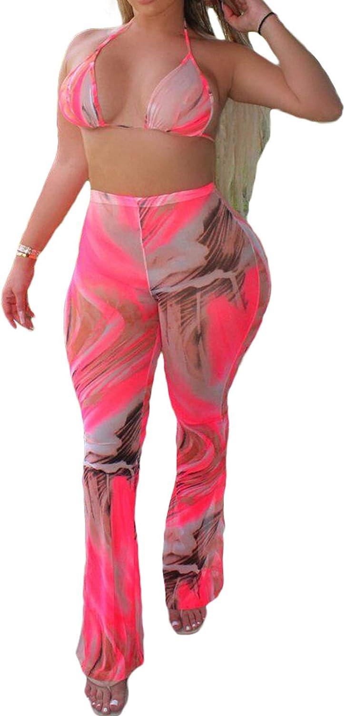 Uni Clau Women's Halter Mesh Bikini Ruffle Beach Set Sexy See Through Cover up Tie Dye Two Piece Outfits Clubwear with Briefs