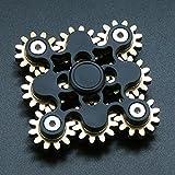 Pure Brass Fidget Spinner Gears Linkage Fidget Gyro Toy Metal DIY Hand Spinner Spins Long Time EDC Focus Meditation Break Bad Habits ADHD with Multiple Premium Bearings (9 Gears Black)