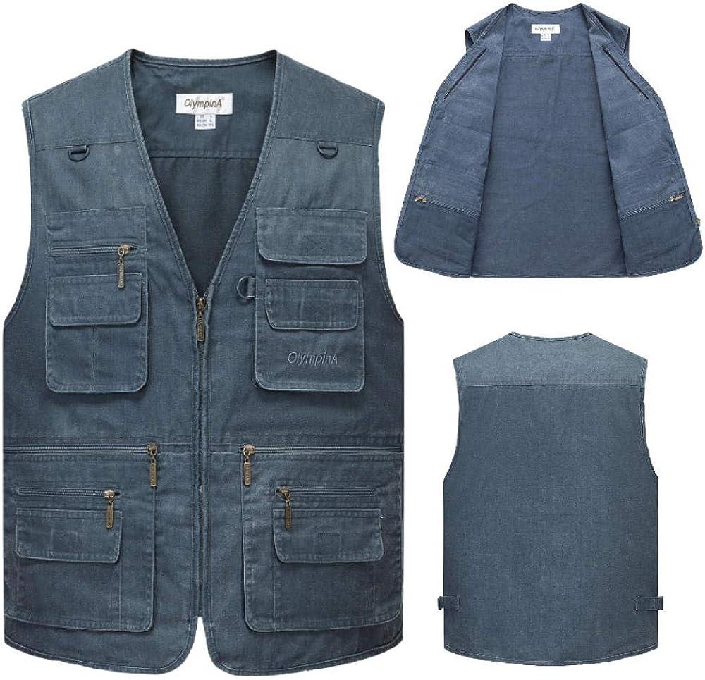 Men's Multi Pocket Vest Waistcoat Jacket Cotton Fishing Camping Outerwear Sleeveless Top Photography Gilet
