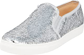 Cambridge Select Women's Slip-On Round Toe Glitter Sequin Stretch White Sole Fashion Sneaker