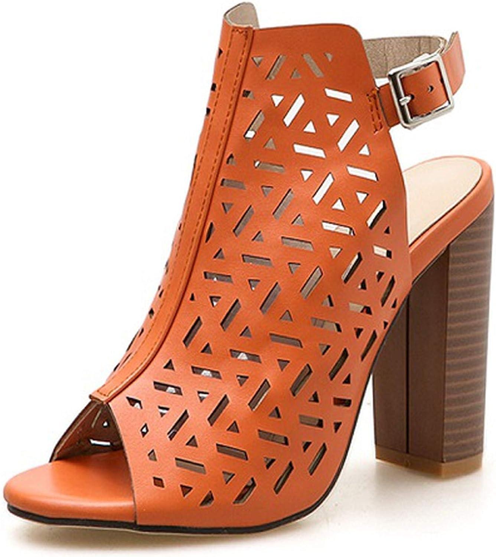 HuangKang orange Black Women Buckle Strap Cross Strap Fashion High Heels Peep Toe Female Square Heel Sandals