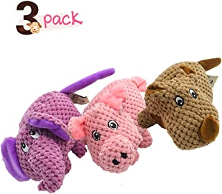 UOLIWO Puppy Toys for Small Dogs, Durable Plush Squeaky Dog Chew Toys for Small Dogs Cute Pig Elephant and Rhinoceros Set of 3