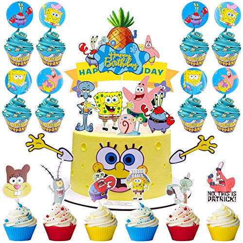 SZWL Title Party Decorations Cupcake Topper, Wrappers, Santa Claus Snowman Reindeer Elf Christmas Tree Cake Party Decorations Supplies - 58 Pieces