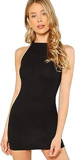 SheIn Women's Summer Sleeveless Halter Neck Casual Tank Bodycon Mini Dress