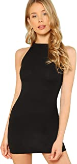 Women's Summer Sleeveless Halter Neck Casual Tank Bodycon Mini Dress