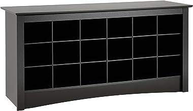 "Prepac  Shoe Storage Cubbie Bench, 24"" x 48"" x 16"", Black"