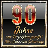 RAHMENLOS 3 St. Aufkleber Original Design: Selbstklebendes Flaschen-Etikett zum 90.