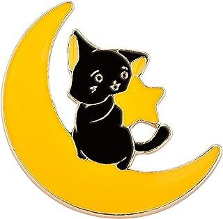 Avamie Moon Star Cat Enamel Lapel Pin