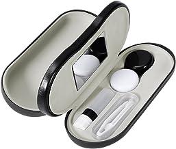 ROSENICE Estuche para Gafas y Lentillas con Espejo Incorporado - Estuche de gafas portátil doble cara 2 en 1 - Diseño a prueba de fugas - Incluye pinzas y aplicador - Perfecto para viajes en casa