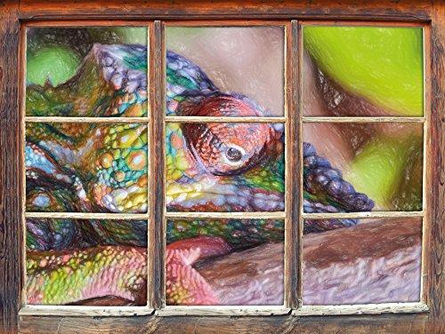 Stil.Zeit Chamäleon aus Madagaskar Kunst Buntstift Effekt Fenster im 3D-Look, Wand- oder Türaufkleber Format: 62x42cm, Wandsticker, Wandtattoo, Wanddekoration