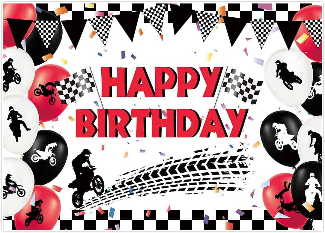 Allenjoy 7x5ft Motocross Happy Birthday Backdrop for Boy Kids Party Supplies Banner Black and Red Decorations Dirt Bike Racing Tire Track Home Decor Photo Booth Props Favors Photography Background