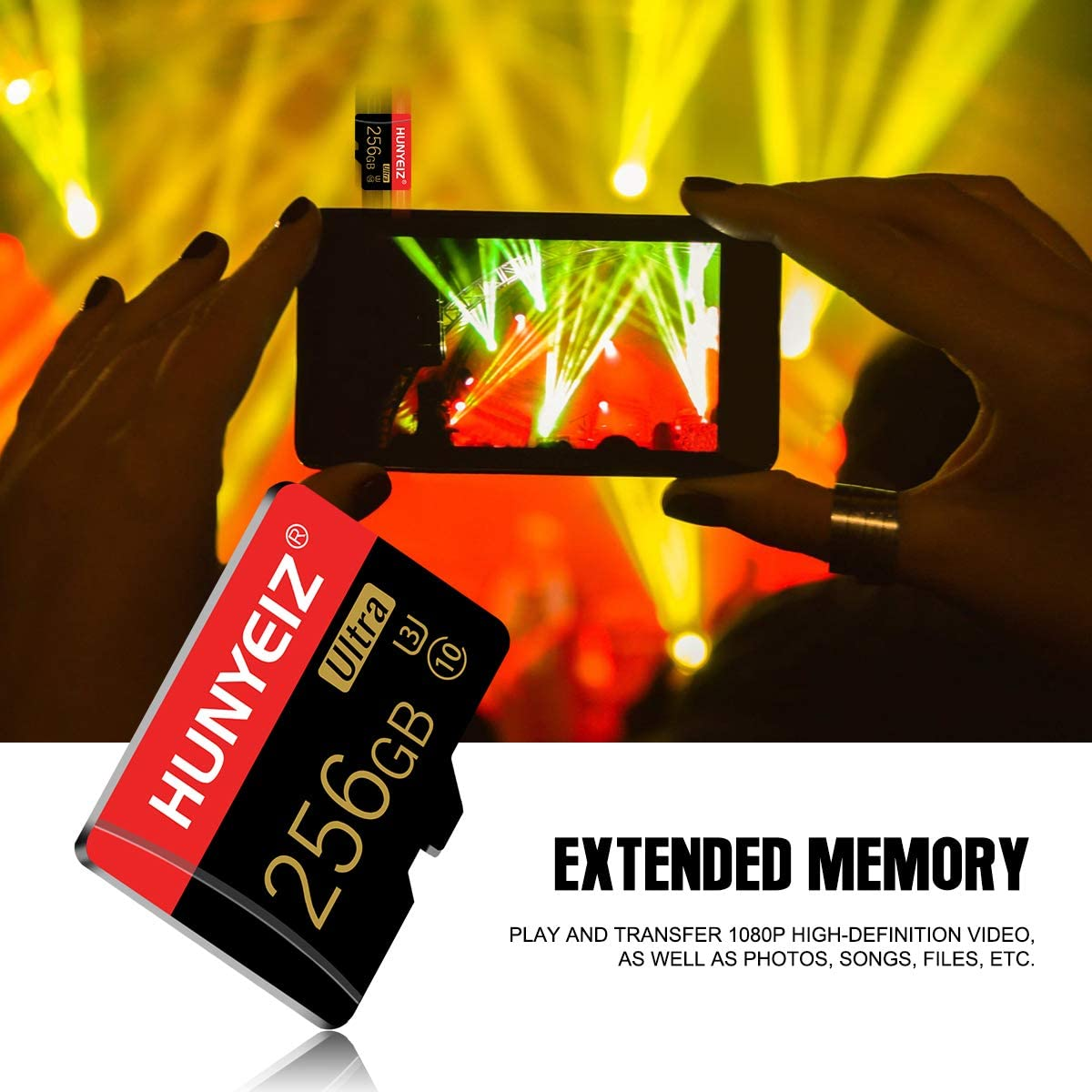 256GB Micro SD Card with Adapter SD Memory Cards for Camera (Class 10 High Speed), Memory Card for Smartphone