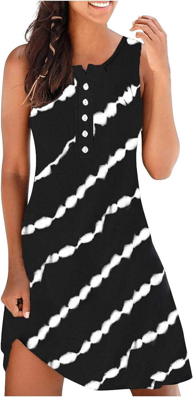 Eduavar Dresses for Women, Womens Summer Floral V Neck Dress Spaghetti Strap Sleeveless Casual Beach Short Midi Sundress