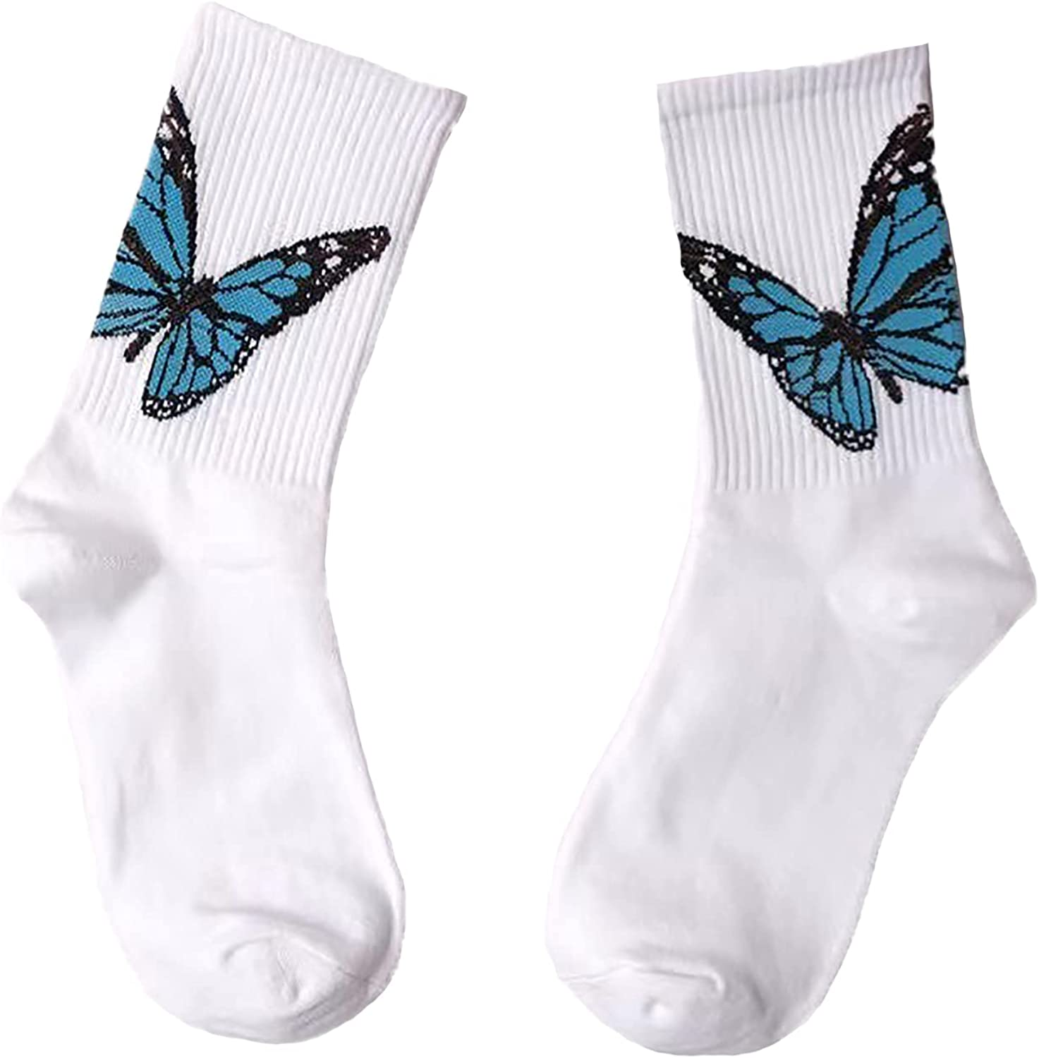 Aluo Palm Angels Compression Socks Women Cute Butterfly Printed Cotton Tube Socks Girls Casual Street Fashion Crew Sock