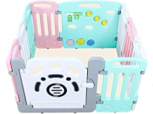 FCXBQ Children s playpen Children s playpen Baby safety Toddler Creeper Impact-resistant railing  interior  use green pink Available seven sizes  size  1 41 1 41