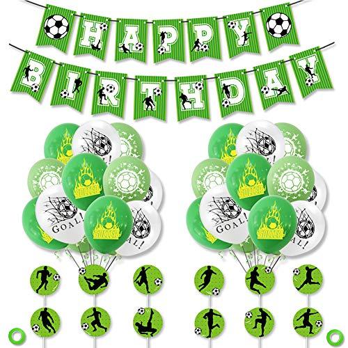 YUIP Decoraciones de fiesta de cumpleaños temáticas de fútbol, 47 piezas Banner de feliz cumpleaños con globos de látex, tarjetas de pastel, banderas para niños niño niña