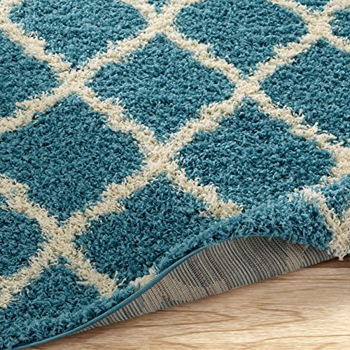 "Ottomanson Ultimate Shaggy Collection Moroccan Trellis Design Contemporary Hallway & Kitchen Shag Runner Rugs, Turquiose Blue, 2'7""L X 8'0""W"