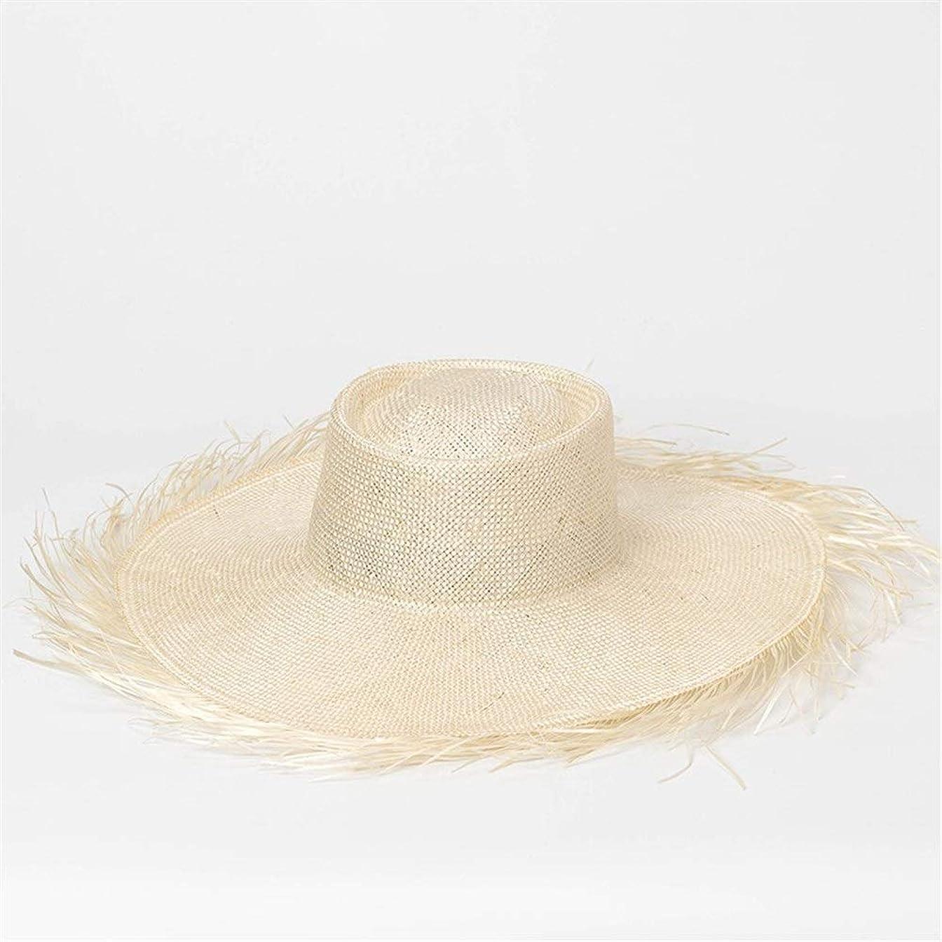 美しいペパーミント周りフラットトップサイザル帽子に沿って春と夏のヘアキャップ屋外日焼け止めバイザー手織り麦わら帽子