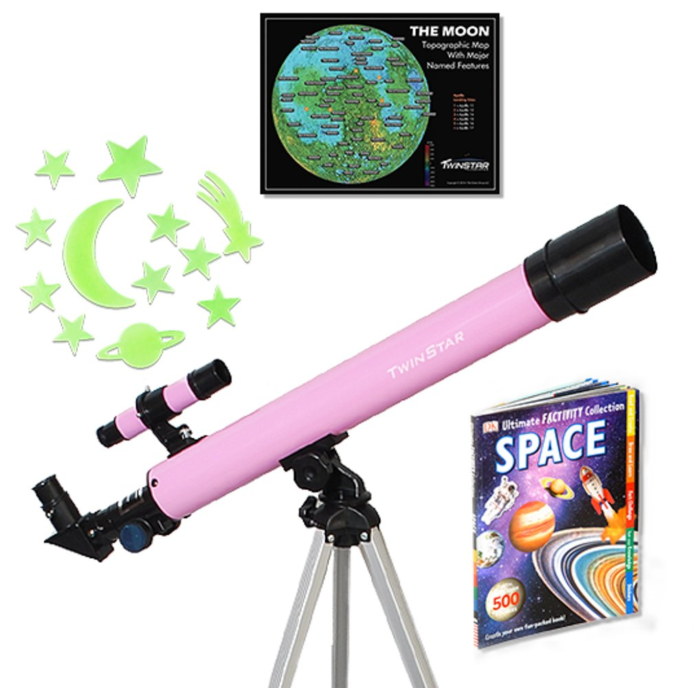 Pink 50mm Young Astronaut Refractor Telescope with Glowing Star Stick Ons