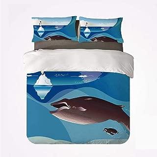 Juego de Funda nórdica Juego de Ropa de Cama Suave de 3 Piezas Whale Decor, Paisaje gráfico del Polo Norte con Penguin Wave y Sun Kid Room Decor para el Dormitorio