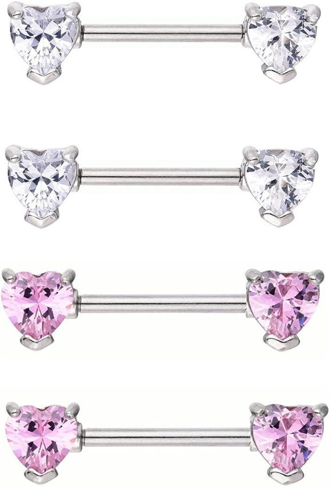 14g Stainless Steel Love Heart Nipple Rings Double Front Facing Barbells Body Piercing Rings for Women Girls
