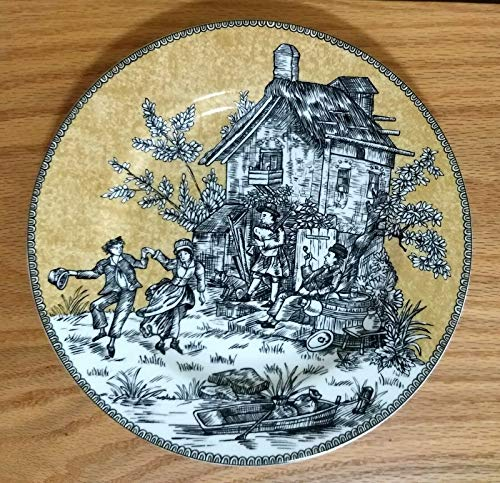American Atelier English Toile Black 5239 Luncheon Plate
