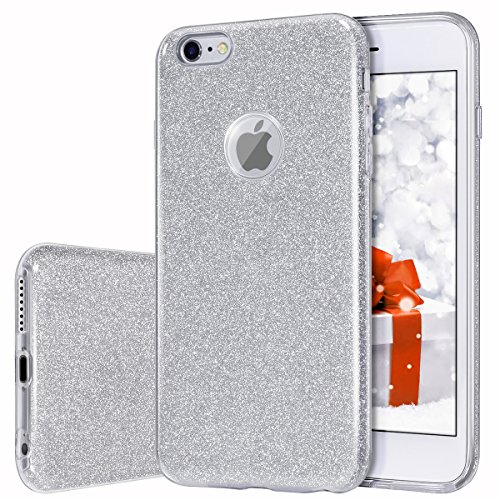 MILPROX Cover iPhone 6, iPhone 6s Glitter Shiny Bling Slim Crystal Clear TPU Bling Glitter Paper Frosted PC Shell Protettiva Custodia per iPhone 6/6s - Argento