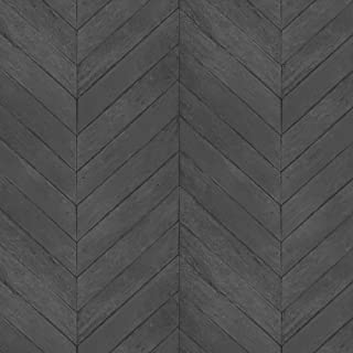 Norwall G67996 Chevron Wood Wallpaper, Black, Charcoal, Pepper, Ink