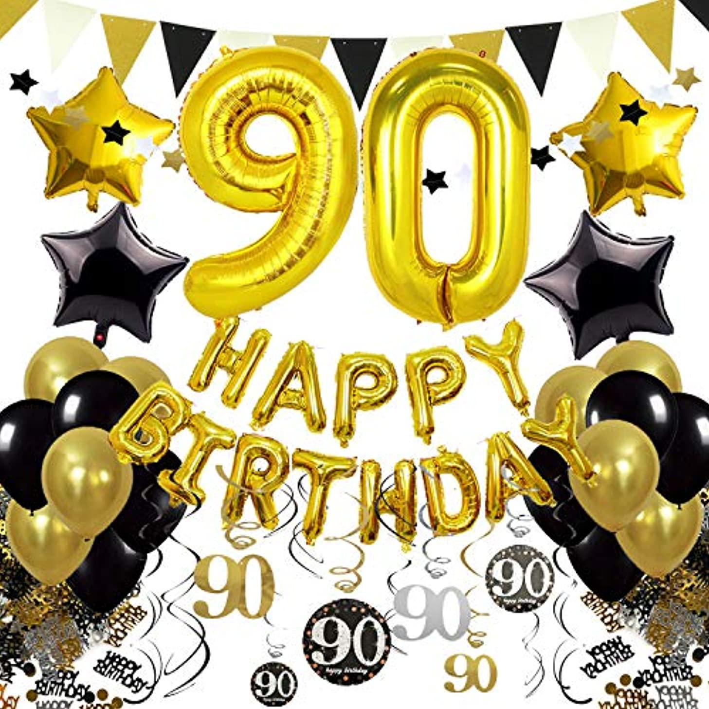 Cocodeko 90th Birthday Decorations, Black Gold Happy Birthday Balloons Number 90 Star Foil Balloons Birthday Confetti Triangular Garland Star-shaped Banner Hanging Swirls for Birthday Party Supplies