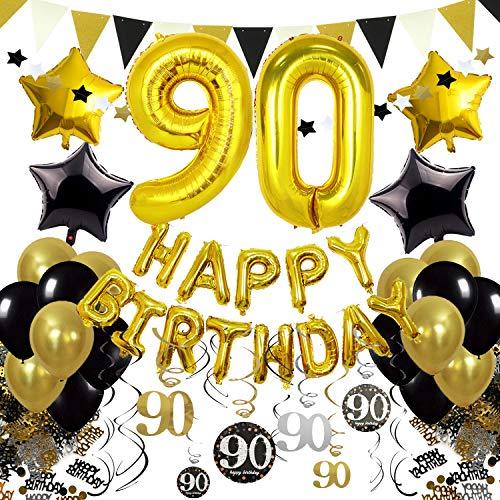 Zerodeco Schwarz Gold 90. Geburtstag Dekoration, Happy Birthday 90. Nummer und Sternförmige Folienballons, Hängende Strudel Dreieckige Wimpel Stern Ornamente Geburtstag Konfetti Party Zubehör Set