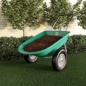 Pure Garden 50-LG1079 2-Wheeled Garden Wheelbarrow – Large Capacity Rolling Utility Dump Cart for Residential DIY Landscaping Lawn Care and Remodeling