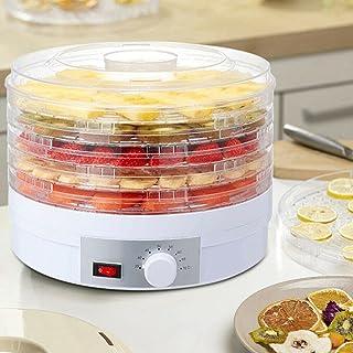 Dörrautomat rostfritt stål 350 W torktumlare med temperaturregulator med 5 ABS enkelfack BPA fri för frukt grönsaker kött...