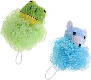 Frcolor Baño suave Puff Animal Esponja Malla Puf Ducha Bola Rana Verde Azul Pequeño Oso 2 unids