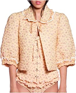 Anna Sui Womens Butterflies Quilted Rosebuds Bed Jacket