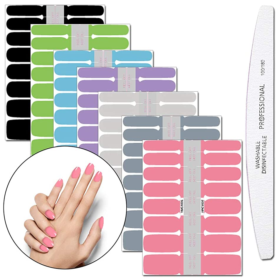 WOKOTO 7 Pieces Full Wraps Nail Polish Stickers Tips With 1Pcs Nail File Nail Self-Adhesive Decals Pure Colors Manicure Sticker Strips Kit For Girls