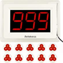 Retekess T114 Caregiver Pager Nurse Call Restaurant Pager Display Receiver(White,1 Pack) and 3-Key Waterproof Call Buttons(White,10 Pack) for Hospital