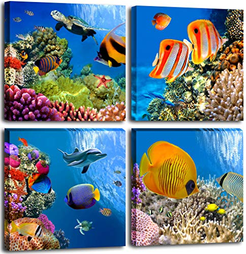 Bathroom Canvas Wall Art Sea Turtle Wall Decor for Living Room Colorful Fish Coral Dolphin Ocean Theme Underwater World Pictures for Bedroom Navy Seascape Artwork Framed Nautical Wall Decor