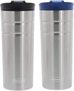 Rubbermaid Flip Lid Stainless Steel Coffee Travel Tumbler - 16 Ounces - Leak-proof - Double-Wall Vacuum Insulated - Keeps Drinks Cold and Hot For Hours - 2pk, Black and Nautical Blue Lid