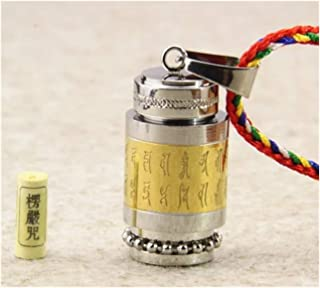 Betterdecor Om Mani Padme Hum Prayer Wheel Amulet with Tibet Mantra for Protection (with a Pouch)